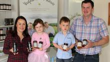 Laura and Tom Sinnott, of Wexford Home Preserves, with their daughter Lila and son Robbie.