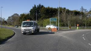 The road closed at the scene of a recent fatal crash in Drinagh