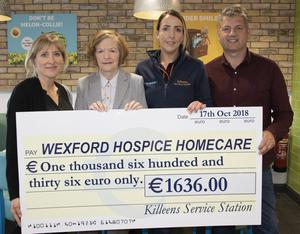 At the cheque presentation in Kileens Service Station: Sarah Butler, Margaret McDonnell (Wexford Hospice Homecare), Sarah O'Sullivan and Tony Butler