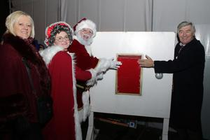 Switching on Wexford's lights: Angela Laffan (district manager), Mrs Claus, Santa and the Mayor of Wexford,Tony Dempsey