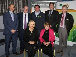 Back: Liam Phelan (AIB), Declan McEvoy (IFAC), James Kehoe, chairman Wexford IFA, James Staines (solicitor) and Joe Kavanagh (FBD). Front: Edel Gahan, Farm Business chairperson and vice-chairperson Wexford IFA and Alice Doyle, chairperson of Wexford IFA's Farm Family and Social Affairs Committee at the IFA Seminar in the IFA Centre