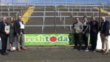 Rory McCauley, Lynnsie O'Donoghue (OMNIHR and Marketing), Brian McGee, Davy Fitzgerald, Seamus Casey, MJ Reck and Michéal Martin at the Freshtoday GAA launch at Innovate Wexford Park