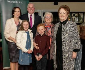 Former Government Minister Mary O'Rourke with Fianna Fail local election candidate Garry Laffan, his wife Catherine, children Maria and Aidan, and his mother Marie.