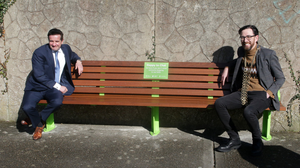 Cllr John Hegarty and Cllr Leonard Kelly, Mayor of Wexford, at the 'Happy to Chat' bench on the junction of Batt Street and St Brendan's Road