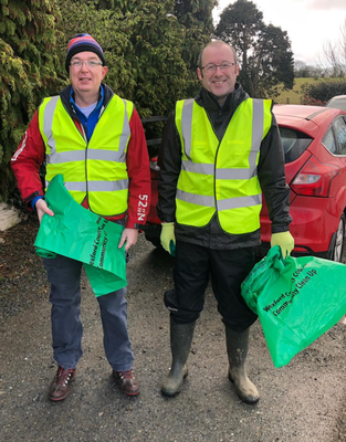 Billy Sweetman and Fergus Moore helping out on the community litter pick in Crossabeg