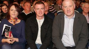 Jane Johnstone, Paul Malone and David Maher at TV3's The People's Debate in Whites Hotel last week; INSET: Michael Fortune speaking during the debate.