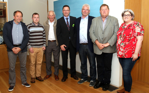 Members of Wexford farming groups who met with members of Wexford County Council in Council Building (from left):Ned Lyng (Vice Chairman, Wexford IFA), Brian Byrne (Chairman, Wexford Beef Plan ), John Johnston (Wexford Beef Plan), Cllr Michael Sheehan (Chairman, Wexford County Council), Cllr Pip Breen, JJ Kavanagh (Wexford Livestock Chairman) and Sarah Mackey (Wexford Macra County Chairperson)