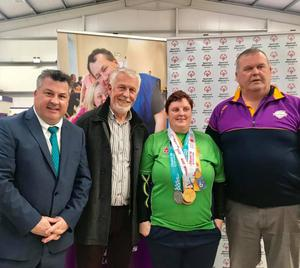 Councillors George Lawlor (Labour) and Jim Moore (Fine Gael) with Lisa Redmond and Peadar Dempsey of Special Olympics Wexford