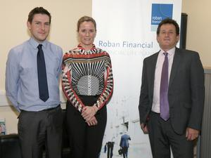 Francis Russell (Pensions Specialist), Michelle Leacy (Zurich Life) and Myles Roban (Roban Financial) at the launch of Chamber Pensions Seminar, in association with Roban Financial