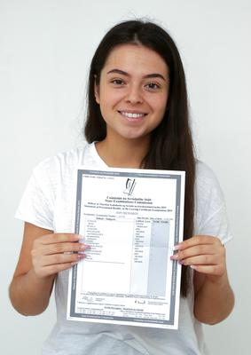 Amy Richards with her Leaving Cert results