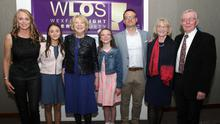 The guest of honour at the launch with family members (from left): Elizabeth McKiernan Becker, Iseult McKiernan Becker, Sabina Higgins, Esme McKiernan Becker, Craig Becker, Eileen McKiernan and Dr Paddy McKiernan