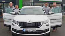 Aidan O'Leary (Brand Manager, Donohoe Skoda), Wexford Manager Davy Fitzgerald, Cathal Murphy (Donohoe Skoda General Manager) and Austin Codd (Donohoe Skoda Brand Manager)