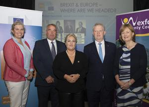 Noelle O'Connell, event moderator; Tom Short, IFA South Leinster chairman; Verona Murphy, president, Irish Road Haulage Association; Gerry Kiely, European Commission Rep Ireland and Deirdre Clune, MEP