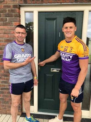 Larry O'Gorman and Lee Chin promoting the Win the House fundraiser to win the house worth€405,000 in Maynooth, County Kildare