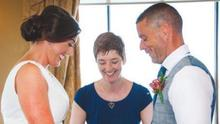 Pauline and Monty Adair with Rosemary Hartigan Hayes during their celebrant wedding in the Riverside Hotel