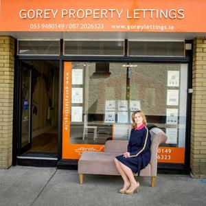 'One to watch' Áine Kavanagh sits outside Gorey Property Lettings where she has been managing director of the company for 17 years.
