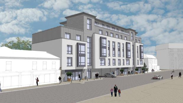 An artist's impression of the proposed apartment block on the old C&D site in Trinity Street.