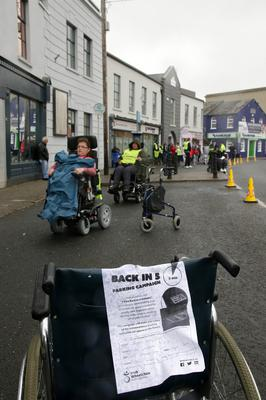 The protest under way at Crescent Quay yesterday (Monday)