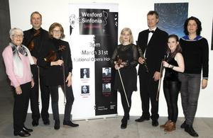 At the launch of Wexford Sinfonia's Spring Concert in the National Opera House, from left: Mary Fox (secretary), Matt Seaver, Terri Murphy (orchestra leader), Annie O'Lionain, Keith Miller (chairman), Catherine Friend (PRO) and Liz Burns (Art Officer, Wexford County Council).
