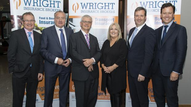 At the annual Wright Insurance Brokers transport and logistics seminar in Clayton Whites Hotel were economist Jim Power, Tony Wright, CEO Wright Insurance Brokers; British Ambassador Robin Barnett, Verona Murphy, President, IrishRoad Haulage Association; Minister Michael D'Arcy and Anton Savage, MC for the event