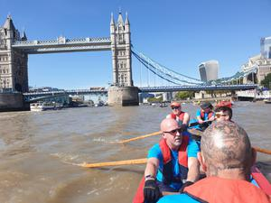 Members of the 'Oarsome Crew' on the River Thames