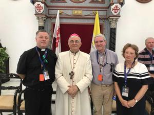 Fr. John Carroll and Eddie and Pauline Breen with Bishop Giacinto-Boulos Marcuzzo at the Latin Patriarchate in Jerusalem.