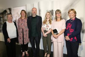 Dr Janet Davis of Wexford Campus, Elizabeth Whyte of Wexford Arts Centre, art tutor Oliver Comerford, Lisa Byrne of Wexford Arts Centre, Jenny Haughton (who opened the exhibition) and Karen Hennessy of Wexford Campus
