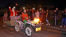 Crowds gather in Tagoat for the Community Christmas events, as a new crib is unveiled and Santa arrives on a trailer.