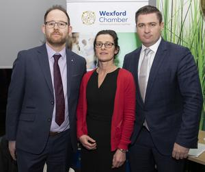 George Skelton of RDA Accountants Ltd and Catherine O'Connor of Mullen Solicitors with Karl Fitzpatrick, Chamber Vice President at a Wexford Chamber seminar on 'The Art of Buying and Selling a Business