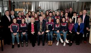 Mayor of Wexford Jim Moore with Suzie Maddock, chairperson St Martins Camogie Club, and members of the team who won the Senior title last year