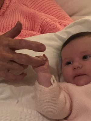 Kitty Walsh with her great-great-granddaughter Sofia Maria.