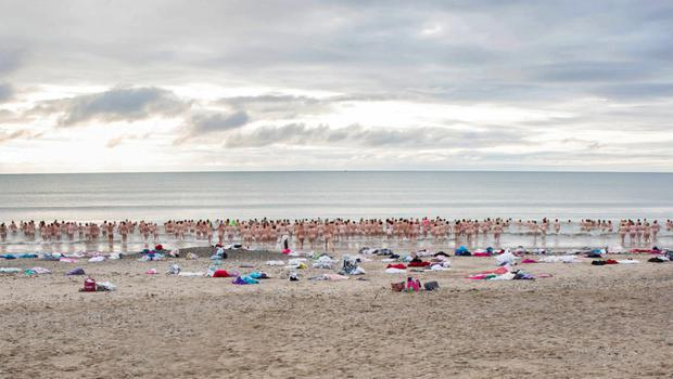 The 2019 Dip in the Nip at Rosslare beach on Sunday morning. Pic: Paula Malone Carty
