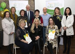 Guest Rosanna Davidson at Saturday's launch of the Wexford Rape Crisis Strategic Plan at Murphy's Barn, with and board and commitee members.From left, back – Christine Hore, Breda Cogely, Moira Slevin, John Cuddihy, Laura Lawlor, Damien Jordan, Kate O'Donnell, and Annette O'Neill; seated – Mairead Sinnott, Rosanna Davidson and Clare Williams