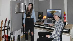 Kayleigh and Andrew at their studio in Whiterock