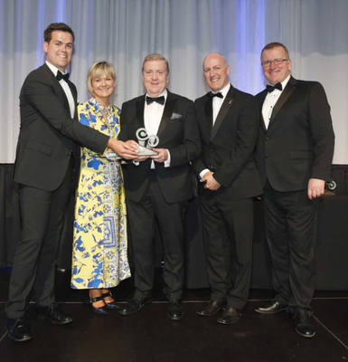 Jack and Liz Harte of Harte Outdoor Lighting receive their award from Minister Pat Breen (centre). Also pictured is Tom Banville of Wexford LEO, and (on right) Oisin Geoghegan, chairman, Network of Local Enterprise Offices