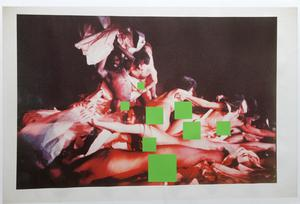 A plastic 'curtain' has been set up in theArts Centre to screen off the images from a public throughway. Inset: One of the images from the exhibition, with body parts covered up.