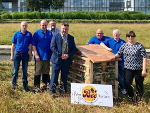 Mayor George Lawlor, Sonia Shiels of Wexford County Council and members of Wexford Working Men's Club with the new Bee Hotel.