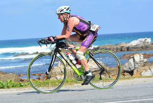 Marie Breen in action on her cycle in South Africa
