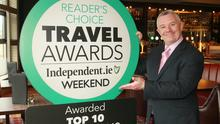 Eibhear Coyle, general manager of the Amber Springs Hotel, with the Irish Independent Reader Travel Award after being named in the top 10 Irish Hotels