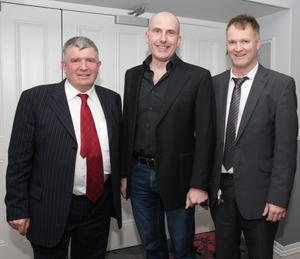 Organisers Mark Boggan and John Banville with clinical psychologist David Coleman, who was the guest speaker