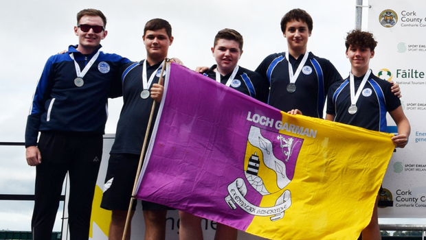 Edermine U14 Boys on the podium after picking up their silver medals at the Irish Coastal Rowing Championships in Cork