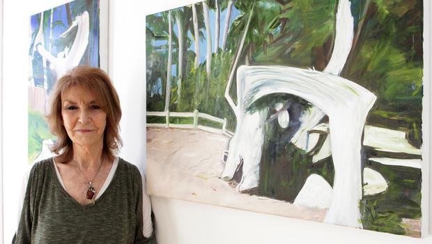 Mary Archer with Bleach Trees on Pebble Beach, a series of two paintings.