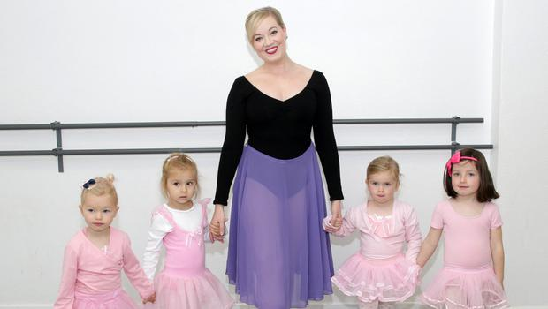 Éilish Coady, who has worked for Disney in various character roles, pictured at the Wexford School of Ballet and Performing Arts teaching some of the school's little 'princesses'