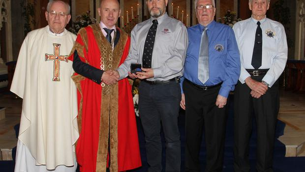 Medal recipient Frank O'Brien for Bartholomew Rodgers with Fr Michael O'Shea, Cllr Frank Staples, Mayor of Wexford; Padge Reck and Jack Higginbotham, Friends of the Tall Ships.