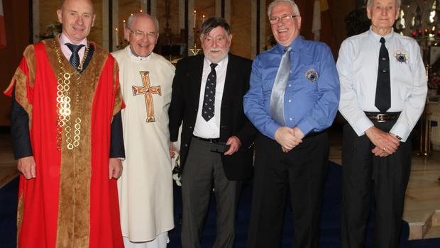 Medal recipient Fergus Wickham with Fr Michael O'Shea, Cllr Frank Staples, Mayor of Wexford; Padge Reck and Jack Higginbotham, Friends of the Tall Ships.