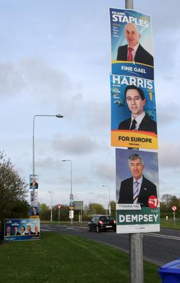 Posters on the Duncannon Road Roundabout for the local and European elections in 2014