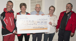 The Wexford Hillwalking and Mountaineering Club presented a cheque for€500 to the South East Mountain Rescue Association. From left: Terry Brophy, Ursula Timmins, John McCormack, Veronica Kelly and Gerry Tobin