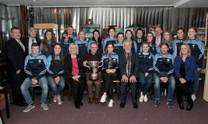 Mayor of Wexford, Cllr Jim Moore; Rory Halligan, chairman of St Anne's Ladies Football Club; Mairead White, team captain; and members of the St Anne's ladies football team in the Irish National Heritage Park at the mayoral reception for the St Anne's Senior ladies football champions and the St Martin's Senior camogie champs
