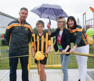 The official opening: Myles Doyle (Club Chairman), Oran Gately who cut the ribbon, Mary Dunphy (WLD) and Sheila Roche (organiser)