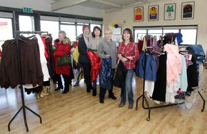 Anne Reck, Elaine Murphy, Mags O'Brien, Catherine O'Regan and Patricia Kelly at the sale of clothing and props in the Sarsfields' clubhouse at the weekend marking the end of Wexford Variety Group.